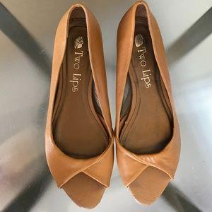 Vintage Style Mustard Tan Peep Toe Micro Heel Flat